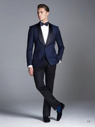 Wholesale Blue Smoking Jacket - Wholesale-Custom made Midnight Blue Smoking Groom suits Wedding Suits For Men Groom Tuxedos 3 Peices Suits(Jacket+Pants+tie)