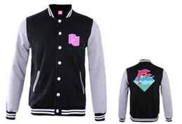 Wholesale Mens Varsity Winter Jackets - Fall-Men's Long Sleeve Leisure Hip Hop Mens Pink Dolphin Winter Warm Baseball Varsity Jacket Sweatshirt s-xxxl