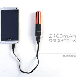 Wholesale Lipstick Charges - Wholesale 2400mah Lipstick powerbank mini mobile power charging treasure brand ideas lipstick mobile power bank for iphone and Samsung