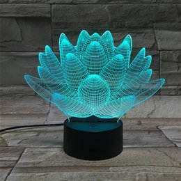 Wholesale Fairy Models - Model Visual Abstract Blooming Lotus From 3D Night Light Optical Illusion 7 Color Changing Night Light Touch Switch LED Table Lamp