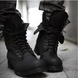 Wholesale high top leather military boots - Free shipping ! Autumn Winter Hot Retro Combat boots England-style fashionable Men's short Black shoes High Top military boots