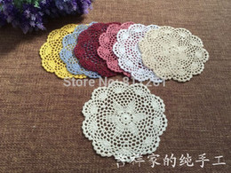 Wholesale Round Felt Placemat - Wholesale- 2015 new free shipping 6 pic lot cotton crochet placemat table mat for home decor lace felt as kitchen accessories photo props