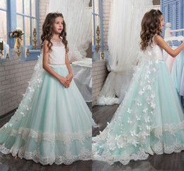 Wholesale Girls Pageant Dresses Mint - Gorgeous White And Mint 3D Flowers Girls Pageant Dresses Crew Sleeveless Tulle Sweep Train Flower Girl Dresses For Wedding Christmas Party