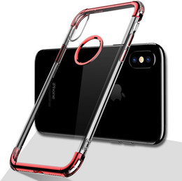 Wholesale Iphone Cases Luxury Chrome - Plating Case for iPhone x 8 plus Luxury Chrome Transparent TPU Gel Anti Fall Mobile Phone Back Cover Case for iphone 6 6s 7 plus