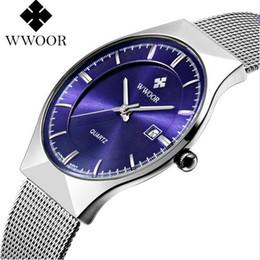 Wholesale Super Slim Watches - Super slim Quartz Casual Wristwatch Business Top Brand WWOOR Stainless Steel Analog Quartz Watch Men's 2016 Relojes Hombre