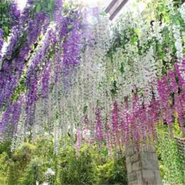 Piante fiorite di vite online-Decorazioni romantiche per matrimoni Fiori artificiali Simulazione Glicine Vite piante da giardino Bouquet da giardino Accessori da sposa