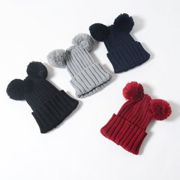 Wholesale Hand Made Hat Baby - Winter kids Crochet hats Bear's Ear boy girls children's soft caps made by hand Spring Autumn hats for cute baby