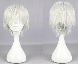Anime Grim Tokyo Ghoul Cosplay Peruk Guru Ken Kane Gümüş Beyaz Kısa Düz Fiber saç Peruk Saç Postiş parti cadılar bayramı COS Kostüm sahne supplier shortest white wig nereden kısa beyaz peruk tedarikçiler