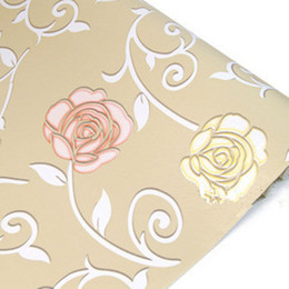 Wholesale Moulding Adhesive - Rose Wall Paper Printed 3D Rose Floral Self Adhesive Wallpaper For Living Room Bedroom TV Sofa Background Home Decoration