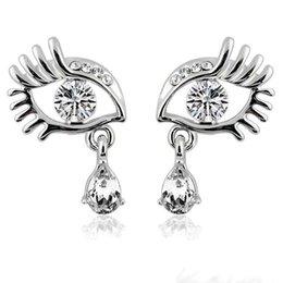 Wholesale Eyelashes Rhinestones - New Long Eyelashes Big Eyes With Rhinestone Stud Earrings Angel's Tears With Crystal Stud Earrings Ladies Fashion Earrings