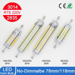 Wholesale R7s 118mm Led Bulbs - LED R7S Light Bulb Silicone 360 Degree 3014SMD 2835SMD LED Lamp 220-240V 78mm 118mm Corn Lamp Bulb alogen Replacement Bulb