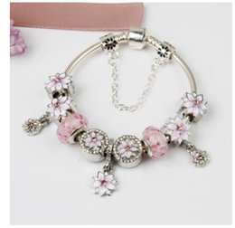 Wholesale European Bracelet Zircon - Top Quality 925 Sterling Silver Pink Murano Lampwork Glass Beads Zircon European Charm Bead Magnolia DIY Fits Pandora Charm Bangle Bracelets