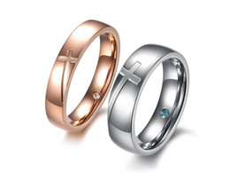 Wholesale Men Diamond Ring Designs - Jewelry Couple Wedding Ring Hot Selling Stainless Steel CZ Diamond Rings For Women Men Fashion Cross Design Lovers Rings 2 Piece Price