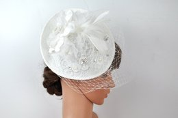 Wholesale Vintage Lace Hats - White Luxury Wedding Hats For Women Cheap Hair Accessories 2017 Vintage Lace Bridal Hats With Beaded In Stock Wedding Hat Veils