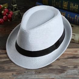 Wholesale Kids Fedora Hats Red - 2016 Fashion Unisex Women Men Kids Children Fedora Trilby Sun Straw Hat Beach Summer Sunhat Jazz Cap