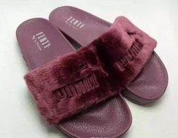 Wholesale Red Hot Printing - Hot Rihanna Leadcat Fenty Faux Fur Slide Sandal,Women Classical Fenty Slippers Black Slide Sandals Fenty Slides Red Yellow Purple Blue