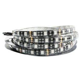 Impermeabilización de pcb online-Negro PCB 5050 LED tira impermeable IP65 tablero PCB negro DC 12V luz flexible 60leds / m 5m / lot, blanco, blanco cálido, azul, rojo, RGB