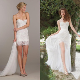 Wholesale Mini Wedding Dress Tulle Sweetheart - 2016 Popular Over Skirts Two in One Wedding Dresses Mini Sheath Lace Appliques Casual Out Door Bridal Gowns with Removable Skirt Detachable