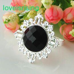 Wholesale Napkin Black - Lowest Price--100% High Quality 50pcs Black Gem Vintage Style Napkin Rings Wedding Bridal Shower Napkin holder-- Free Shipping