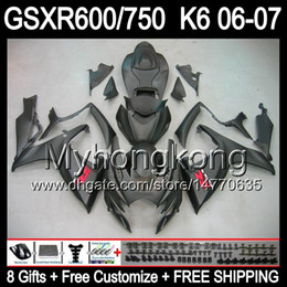 Wholesale Matte Black Fairings Gsxr - 8gifts Bodywork For SUZUKI GSXR600 06 07 GSX R750 R600 06-07 matte black 8MY394 GSXR-600 GSXR750 K6 GSXR 750 600 2006 2007 Fairing black