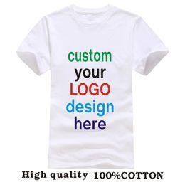 Wholesale T Shirt Advertising - Wholesale-Custom Printed Personalized T-Shirts designer logo mens t shirt 2016 Advertising brand new white tshirt short-sleeve blank tees