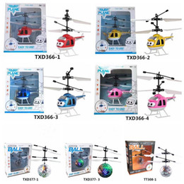 Wholesale Led Electric Wholesale - 7 Styles Air RC Flying Ball Drone Helicopter Ball Built-in Shinning LED Lighting for Kids Teenagers Colorful Flying Helicopter CCA7298 20pcs