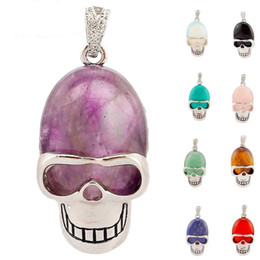 Wholesale Skull Heads Beads - Natural Gemstone Bead Silver Skull Pendant Natural Crystal Stone Alloy Head Bone Charms For Women Men DIY Charms