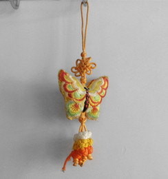 Wholesale Chinese Sachet - 6 small gift yellow butterfly abroad Chinese knot double-sided embroidery sachets The perfume pouch will be gifts wholesale Chinese wind cha