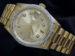 Relojes deportivos amarillos online-Nuevo AAA Quality Day-Date Presidente 18k Yellow Gold Watch w / Gold Diamond Dial / Bezel Reloj deportivo para hombre Reloj automático para hombre