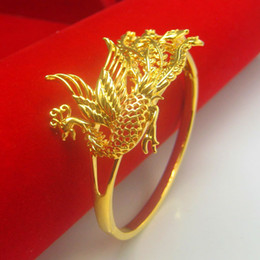 Wholesale Gold Phoenix Dragon Bangle - For a long time does not fade dragon phoenix gold bracelet bracelet peacock female gold-plated 24K thousand foot Bride Wedding Jewelry