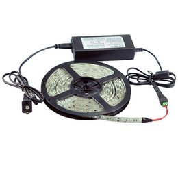 Wholesale Power Supply 16 - 50M Waterproof LED Strip SMD5050 60Leds m + DC Connector + 12V 5A Power Supply Adapter Red Yellow Green Blue Warm White White DHL Free