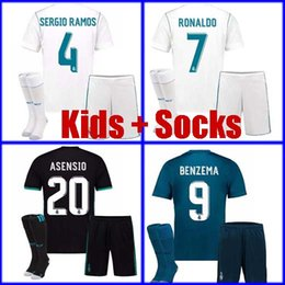 Wholesale Youth Ronaldo Jerseys - Thailand kids Real madrid soccer Jersey 2018 boys youth children RONALDO ASENSIO SERGIO RAMOS ISCO MODRIC Kids uniform set with socks 17 18