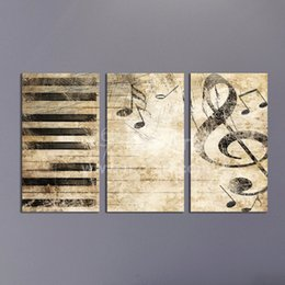 Wholesale Three Panel Canvas Art Sets - Triptych Custom Multiple Panel Canvas Painting Piano Music Digital Modular Picture Wall Art Set Kid's Room Decoration Pictures
