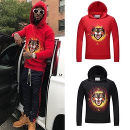 2019 ropa de hombre Negro / Rojo Angry Cat Head Impreso Sudadera con capucha Hombre Agradable 3D Impreso Cómodo Sudadera de algodón Jumper Wear Hombres ropa de hombre baratos