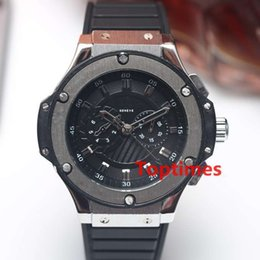 Wholesale Mens Big Case Watches - Brand Luxury Skeleton Watch Sports F1 Black Big Stainless Steel Bang Case Men's Mens Watches Business Auto Date Wristwatches Fashion