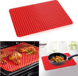 Wholesale Kitchen Hot Pads - Hot 1 Piece Red Pyramid Bakeware Pan Nonstick Silicone Baking Mats Pads Moulds Cooking Mat Oven Baking Tray Sheet Kitchen Tools
