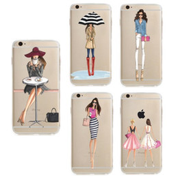 Wholesale Free Paint Shop - phone case for iPhone 8 7 6 6s plus X soft TPU Slim painting Protective Back Cover TPU printed shopping girl Case DHL EMS free GSZ003