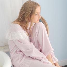 camisola de algodão da princesa Desconto Atacado- Frete Grátis Novo Outono Princesa Mulheres Pijamas Calças Compridas Conjunto Rosa e Roxo Sleepwear 100% Algodão Camisola Rendas Camisola