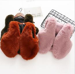 Wholesale Brown Fur Vest Kids - Girls Faux Fur Waistcoats Baby Girls Fashion V-neck Vests Kids Girls Autumn Winter warm outwear 2017 kids clothing
