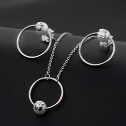 Wholesale Wholesale Stainless Steel Jewellery China - Stainless steel bezhu small bear suit luxury Necklace Pendant earnail small bear Gift Jewellery suit wholesale