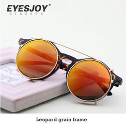 Wholesale Framing Clips - Men Punk Retro Round Clip On Sunglasses Double Alloy Frame Removable Lens Sunglasses Men Dazzling Color Mirror Sunglasses 5963