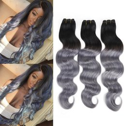 Wholesale Two Toned Weave - Malaysian Body Wave Hair Bundles Grey Silver Ombre Human Hair Grade 8A Two Tone 1B Grey Ombre Grey Weave 4pcs lot