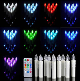Wholesale Led Taper Candles Wholesale - Wireless LED Remote Control Candles Lights Christmas Tree Party Home Decor candle lighting lamp Easter club Wax Taper Candles gift
