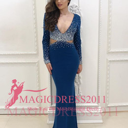 Wholesale Little Tuxedos - 2018 New Style Castle Sexy Sparkle Evening Dresses Mermaid V Neck Long Sleeve Floor Length Crystal Cutaway Sides Ladies formal tuxedo