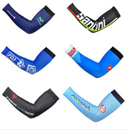 Wholesale Wholesale Touring Bikes - Wholesale-Tour de France Team Edition Arm Sleeves Cycling Arm Warmer Cooling Running Sun Protection Cuff Cover Bicyle MTB Bike Armwarmer
