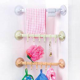 Wholesale Bar Towels - Plastic Suction Cup Towel Bar with Hooks Bathroom Holder Towel Rack Storage Organizer Bathroom Toilet Towel Racks JI0175