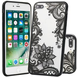 Wholesale Iphone Sexy Cover - Sexy Lace Flower Pattern Hard PC+TPU Cases Back Cover Capa for Iphone 5 6 6plus 7 7plus 8 8plus x
