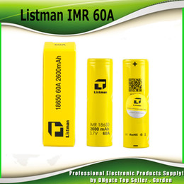 Wholesale Ecig Batteries - Authentic Listman IMR 18650 2600mAh 60A 3.7V battery High Drain Rechargeable Battery 100% genuine Fedex Free Shipping fit ecig mods 2221002