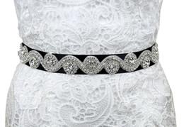 Wholesale Thin Crystal Wedding Sashes - Wholesale-Vintage Crystal Beaded Thin Bridal Belt Waistband Cheap Rhinestone Bridal Sash married Trimming beautiful wedding accesories
