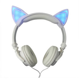 Wholesale Unique Ear Wires - Original wired cat ear headphone folded gift headband earphone For Women LED light Cute Unique Shape headphones with Microphone